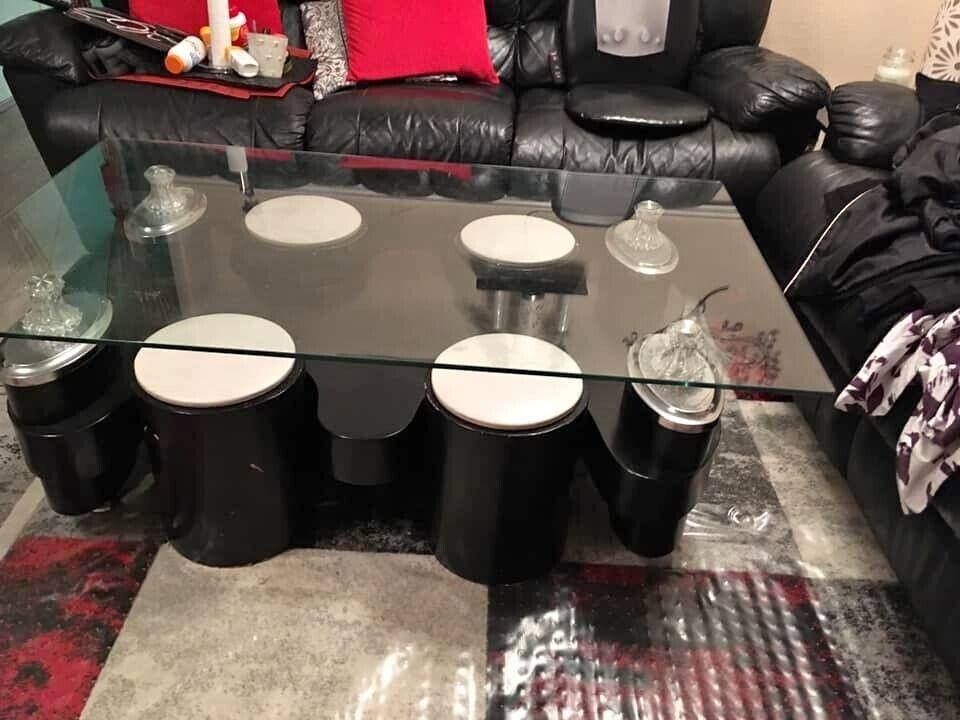 Glass Coffee Table With 4 Stools 2 Broken In Uxbridge London