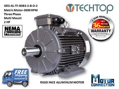 2 Hp Electric Motor Metric 3600 Rpm 3-phase Rigid Aluminum