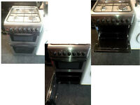 SILVER DOUBLE OVEN 50CMS GAS TOP AND ELECTRIC GRILL AND OVEN COMPLETE WITH GAS PIPE