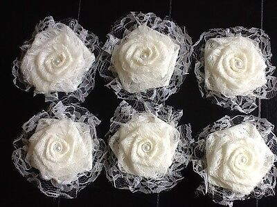 Six Lace Flowers Ivory Burlap Shabby Chic Cottage Wedding Outdoor Table -