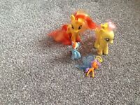 My little pony sun set shimmer ,flutter shy ,mini rainbow dash and breezie