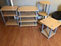Furniture set 4 pieces - Tv stand - Corner shelf - 2 side shelfs.