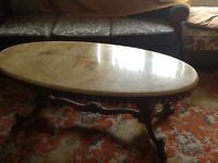 Onyx and brass coffee table