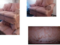 STUNNING 2 X 2 SEATER PINK FABRIC SOFAS WITH MATCHING CUSHIONS WOULD LOOK GREAT IN ANY ROOM