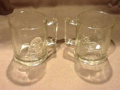 2 Vintage Humpty Dumpty Tom Tom Glass Mugs Cups
