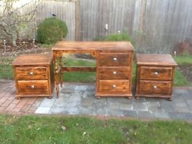 Upcycled solid wooden desk / dressing table plus 2 x drawer units