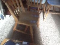Four lovely farm house kitchen or dinning room chairs in solid condition