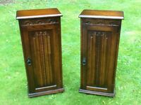 """Pair of oak """"Olde Court"""" CD/DVD/book cabinets"""