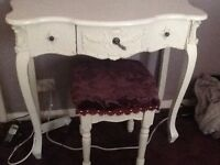 Small white dressing table and mirror