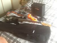 For sale guitar and practice amp with leads and case all you need to get started