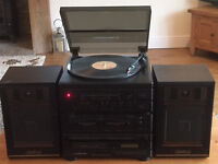 Rare Retro Hi Fi Stereo System BRAND NEW IN UNOPENED BOX, Speakers, Turntable, Double Cassette, CD