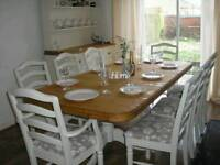 Beautiful Shabby Chic 7ft Solid Pine Ducal Dining Table and 8 Chairs