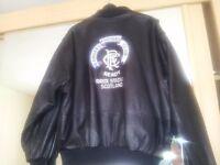 RANGERS FOOTBALL CLUB BLACK LEATHER BOMBER JACKET SIZE M