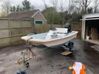 Dell Quay Dory 11 - Day / Fishing boat - nearly new 20hp engine