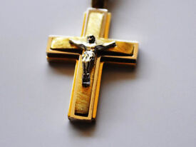 Unique Solid 14K Gold Cross Necklace Pendant with Yellow White Gold