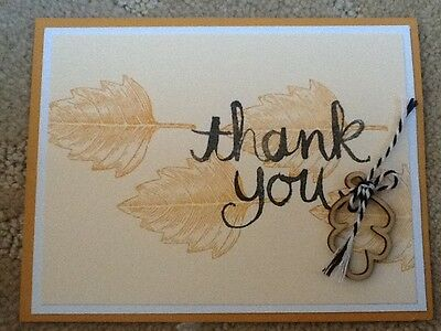 Vintage leaves thank you card kit of 9 made w/ Stampin' Up!