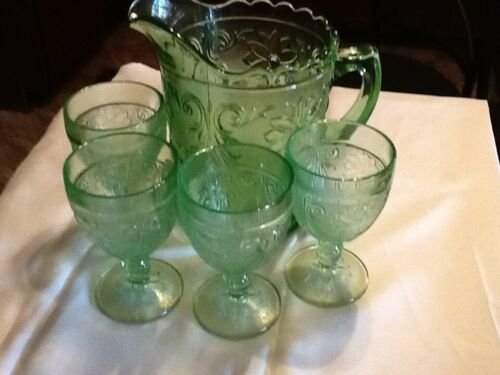 Tiara Indiana glass, Chantilly Green Pitchel and 4 Gobletsq