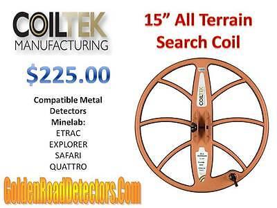 "CoilTek 15"" All Terrain DD Coil For Minelab ETRAC/Explorer/Safari Detectors"