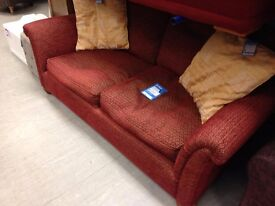 Red & Gold Sofa & 2 Chairs