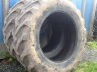 TRACTOR TYRES 18.4/38 (460/85/38) GOODYEAR SUPER TRACTION RADIALS WITH 35% TREAD IN GOOD CONDITION