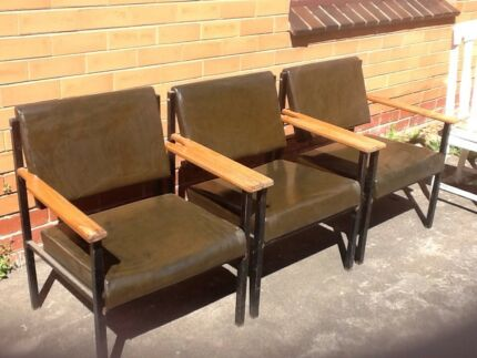 Retro brown vinyl armchairs
