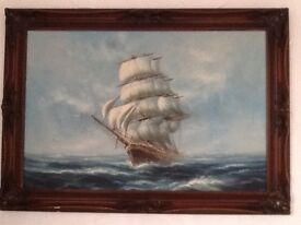 A large oil painting of a ship at sea