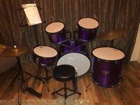 Tiger full size metallic purple drum kit with stool
