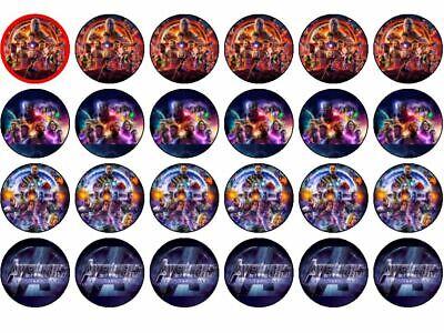 24 Avengers Endgame Cupcake/Fairy Birthday Cupcake Toppers 4cm Round