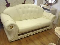 Versace Cream Leather Sofa 3 + 2 + 1(Stock Clearance)