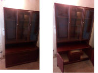 SOLID WOOD DISPLAY CABINET WITH INTERNAL LIGHT 2 GLASS SHELVES 3 DRAWERS AND 2 OPENING CUPBOARDS