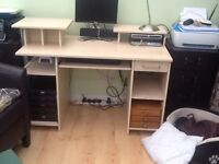 Nice light wood effect desk with drawer, shelves,storage, good condition
