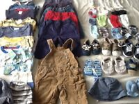 Large bundle of baby boy clothes 6-9m,shoes,hats,socks