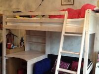 High sleeper bed with sofa bed and desk