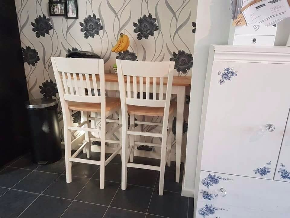 Shabby Chic Country Cottage Breakfast Bar Table And 2 Stools Chairs Cream Pine