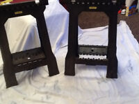 NEW Pair Stanley Folding Saw Horse Has One Missing Spreader Part