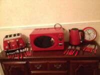 * Red Kitchen set up - Toaster, Kettle, Microwave etc *