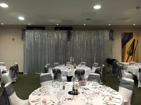 Silver Sequin Wedding Backdrop and Pipe Work