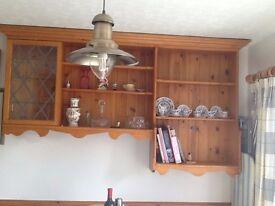 Antique Pine Wall display shelving unit 200 cm (l) x 110cm (h) x 30 cm (d)