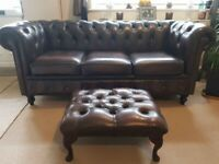 Chesterfield Brown Leather Sofa With Footstool Can Arrange Delivery