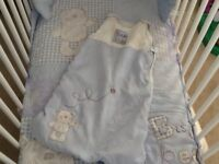 Baby boys cot bed bedding with sleeping bag and soothing bear