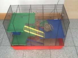 £10 the lot-Hamster cage and all accessories in side-3tiers/levels,3 ladders,running wheel and toys