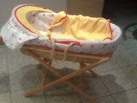 Job lot £15-Moses basket with hood+covers+mattress+blanket+foldable stand-£15 the lot