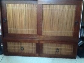 TV Storage unit, Indonesian wood with bamboo inlay, originally purchased from 'The Pier' store.