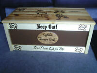 pyrography ,wooden toy/storage box with pirate theme.Can be personalised with childs name .