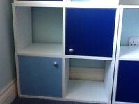 Children's storage cupboards X 3 from Argos with blue doors