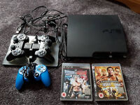 PS3, 3 Controllers, Charging Dock, Cables, 2 Games. £60