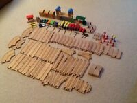 Wooden train and tracks,