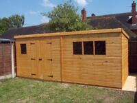 20 x 7FT LARGE PENT GARDEN SHED HEAVY DUTY SHIP LAP TIMBER DOUBLE DOORS FULLY ASSEMBLED BRAND NEW