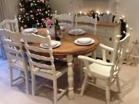 Stunning Oak Dining Table & 6 Chairs finished in Farrow & Ball