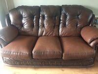 Brown Leather 3 Piece Suite FREE